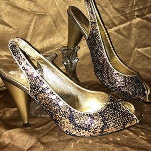 Sparkling sling back heel Woman Sz 8.5